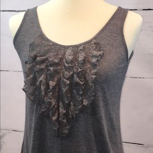 🌺 Express Grey Tank Top with Lace 🌺